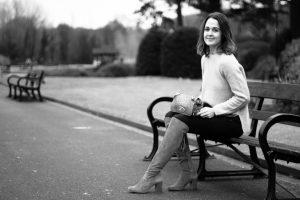 Belper River Gardens with Rebecca Denise sat on bench