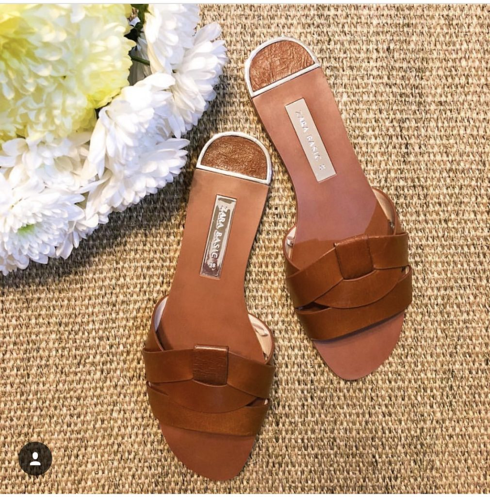 Zara Crossover Leather Flats