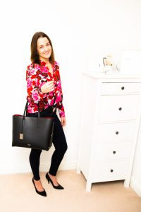 Zara hot pink and red floral blouse