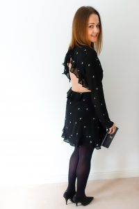 Back view of Rebecca Denise wearing Honey Punch Long Sleeve Tea Dress from ASOS