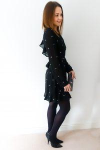 Rebecca Denise wearing Honey Punch Ruffle Star Print Tea Dress from ASOS