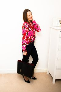 Camelia Roma Bag styled with Zara Floral Print Shirt