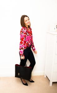 Zara Blouse styled with River Island Molly Jeans