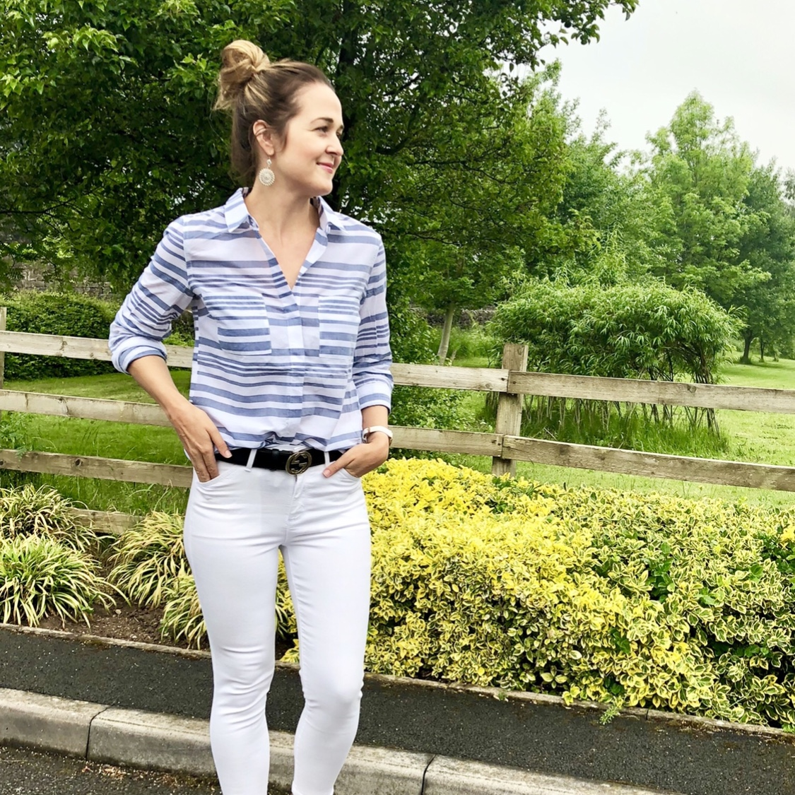 Rebecca Denise wearing Oasis Blue and White Stripe Shirt