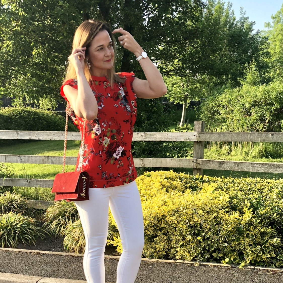 Rebecca Denise wearing Oasis Red Top and Grace jeans