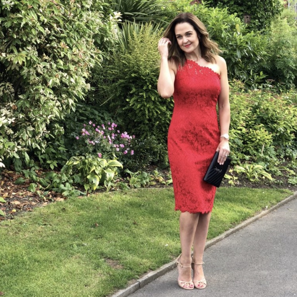 Rebecca Denise wearing Red Eliza J Lace One-Shoulder Dress