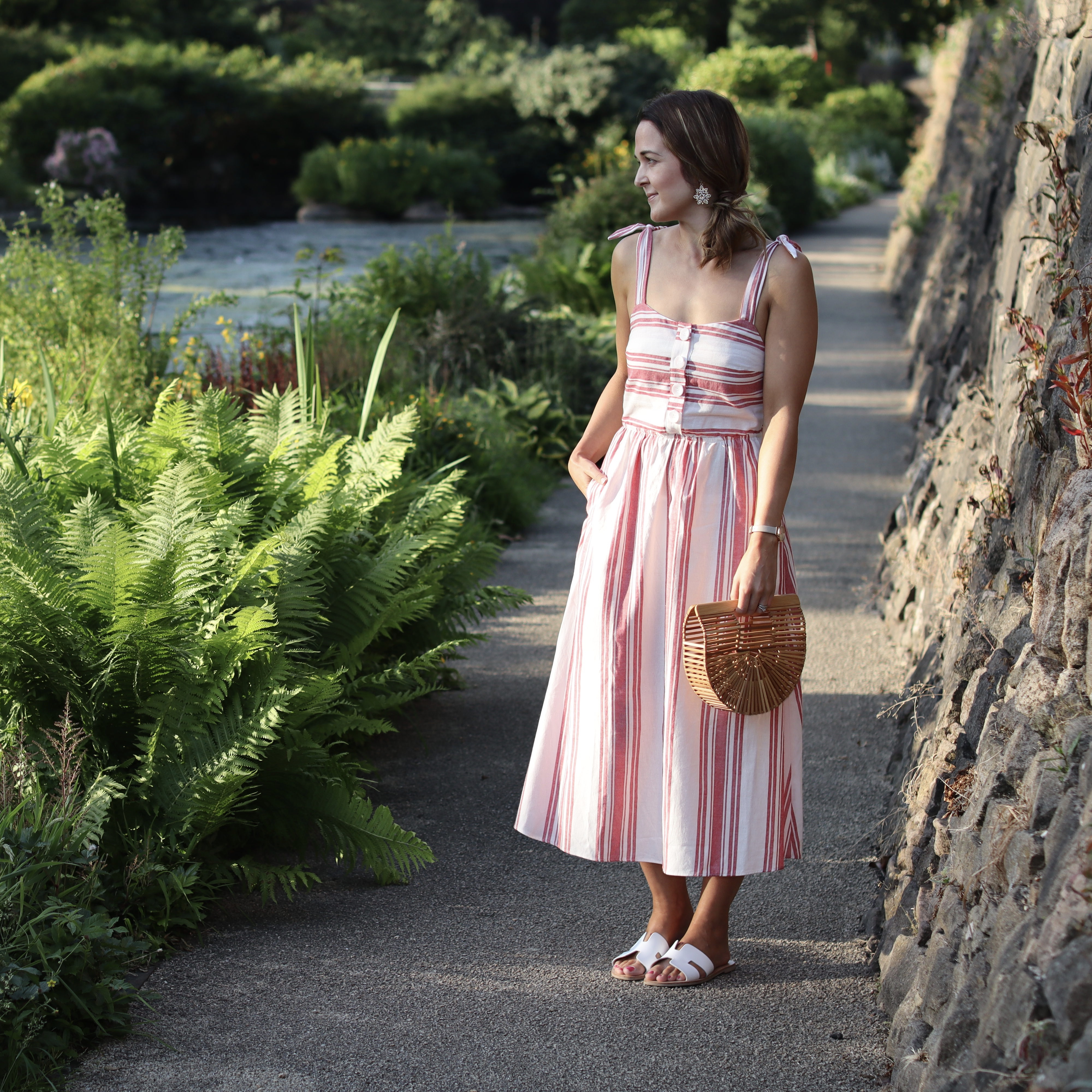 Rebecca Denise wearing Red and White Stripe Strappy Dress by Zara
