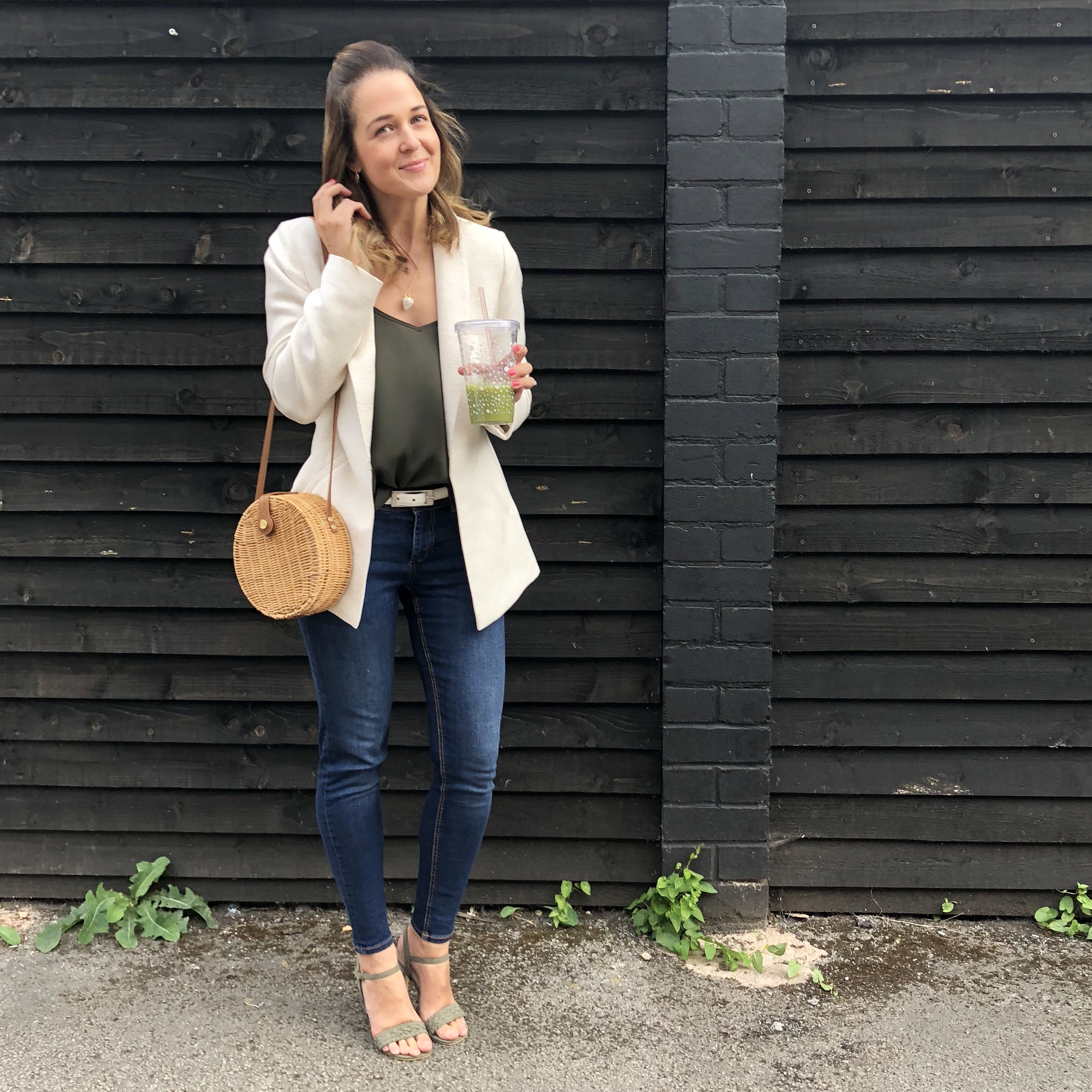 Rebecca Denise wearing Zara and Mint Velvet Jacket