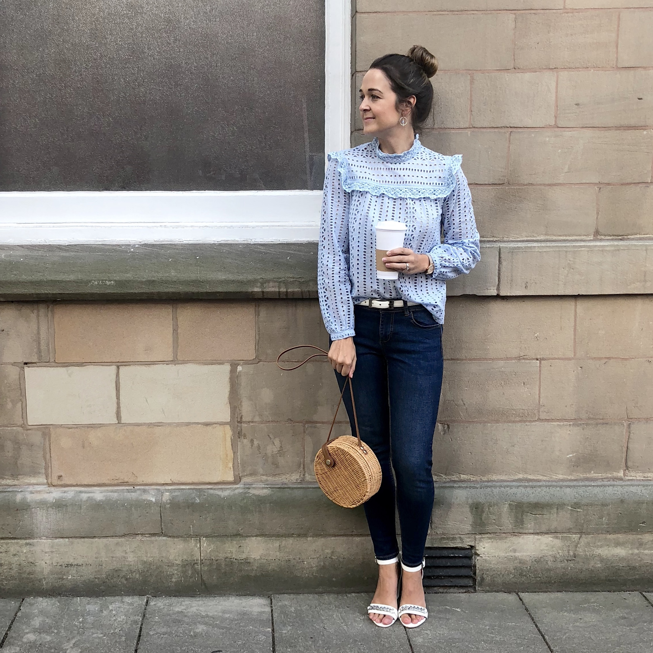 River Island Blue Broderie Top worn by Rebecca Denise English Blogger 2